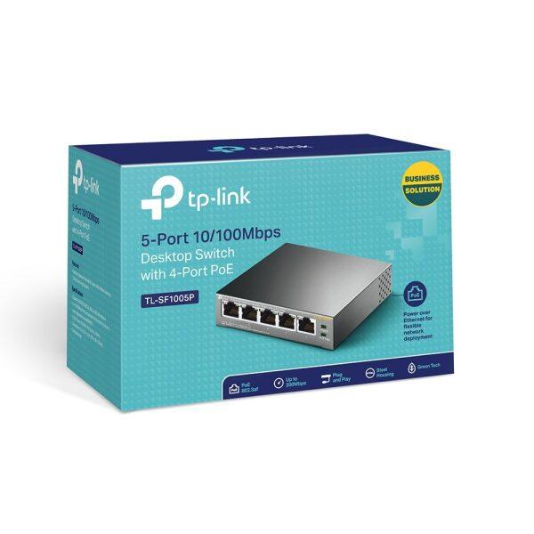 TP-Link Desktop Switch 5-Port 10/100Mbps with 4-Port Poe TL-SF1005P V1