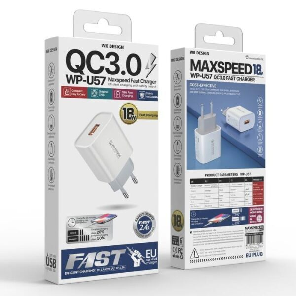 WK Quick Charger 3.0 18W with Micro USB Cable WP-U57