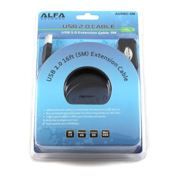 Alfa Network Usb 2.0 Active Extension Cable 5 meter (Usb A male to Usb A Female)