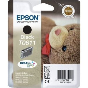Epson Μελάνι Γνήσιο T0611 Μαύρο (C13T06114010)