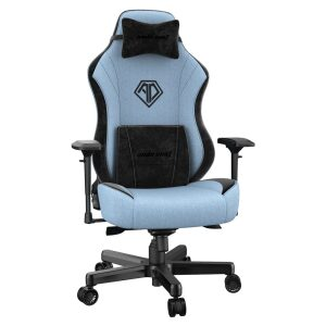 ANDA SEAT Gaming Chair AD18 T-PRO Light Blue/ Black FABRIC with Alcantara Stripes