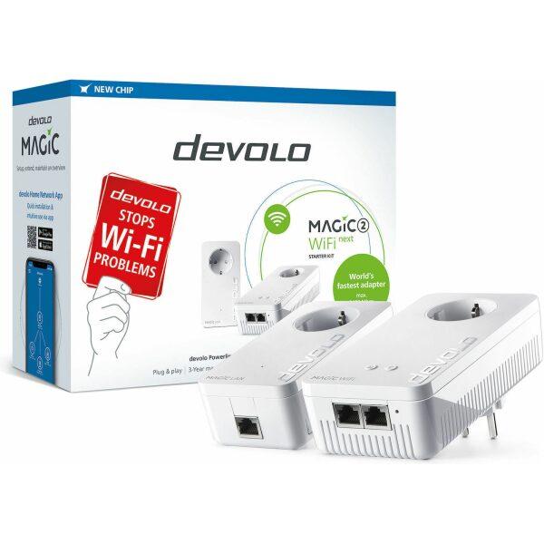 DEVOLO POWERLINE MAGIC 2 WIFI NEXT EU STARTER KIT (8624), 1x MAGIC 2 LAN ADAPTER & 1x MAGIC 2 WiFi (WIRELESS) ADAPTER, 2400Mbps,