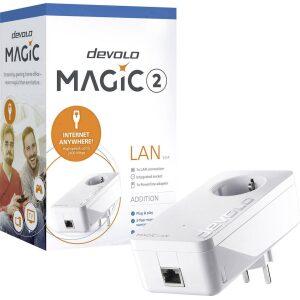 DEVOLO POWERLINE MAGIC 2 LAN 1-1-1 EU SINGLE (8259), 1x MAGIC 2 LAN ADAPTER, 2400Mbps, SHUKO, AC POWER OUT SOCKET, 3YW.