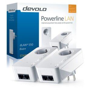 DEVOLO POWERLINE dLAN 550 DUO+ STARTER KIT (9303), 2x dLAN 550 DUO+ ADAPTER, dLAN 550Mbps, SHUKO, AC POWER OUT SOCKET, 3YW.