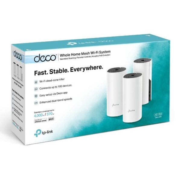 TP-LINK DECO M4 3-PACK AC1200 WHOLE-HOME MESH Wi-Fi SYSTEM